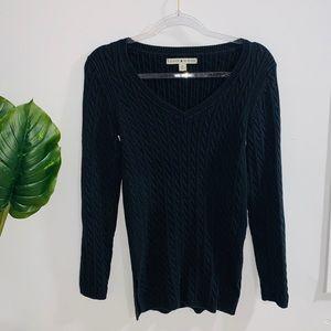 Tommy Hilfiger Black Vneck Sweater Medium